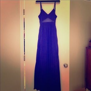 Cobalt blue keyhole cutout floor length gown dress